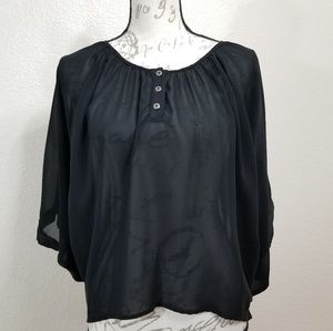 Umgee Black Semi Sheer Poncho Batwing Top Size S